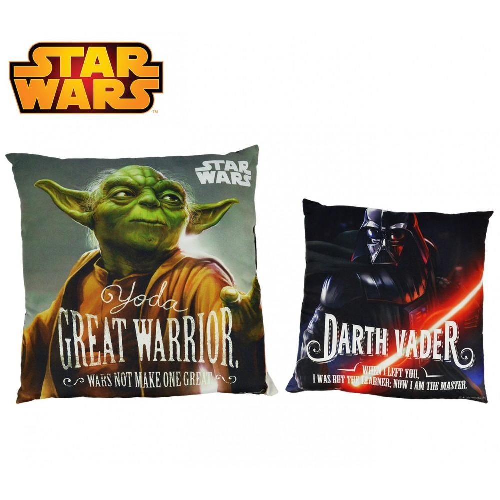 SW92244 Morbido cuscino Star Wars 40x40 cm doppia immagine Darth Vader - Yoda