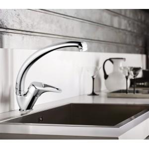 Miscelatore da cucina rubinetto acciaio cromato mod. canna alta