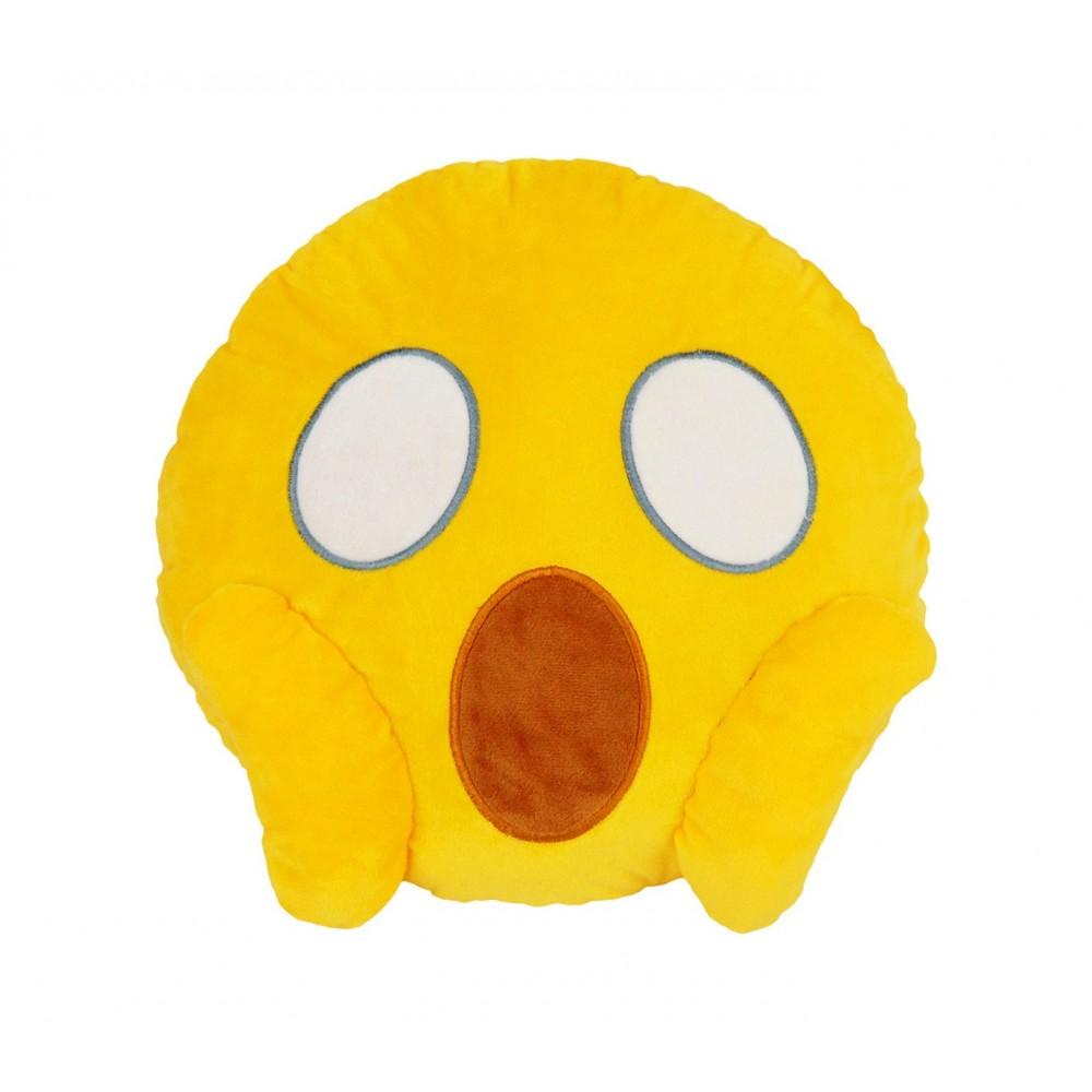 557315A Cuscino emoji viso che urla dalla paura colore giallo ø 30 cm circa