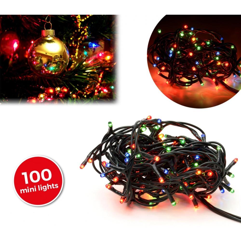 013447 Minilucciole natalizie multicolor 100 luci 8 giochi di luci 6 metri