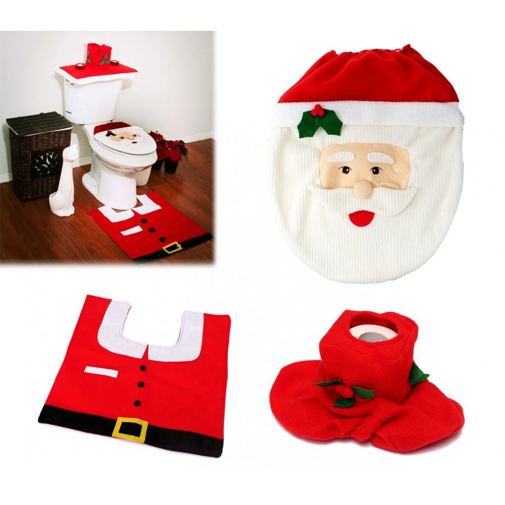 Copri Wc Babbo Natale.3036 Completo Bagno Natalizio Copriwater Babbo Natale Tappeto Rotolo