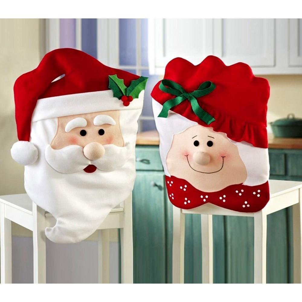 3037 Set due coprisedia natalizi Babbo Natale e Mamma Natale dettagli in rilievo