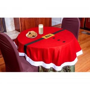 3035 Tovaglia da tavola natalizia tonda con dettagli