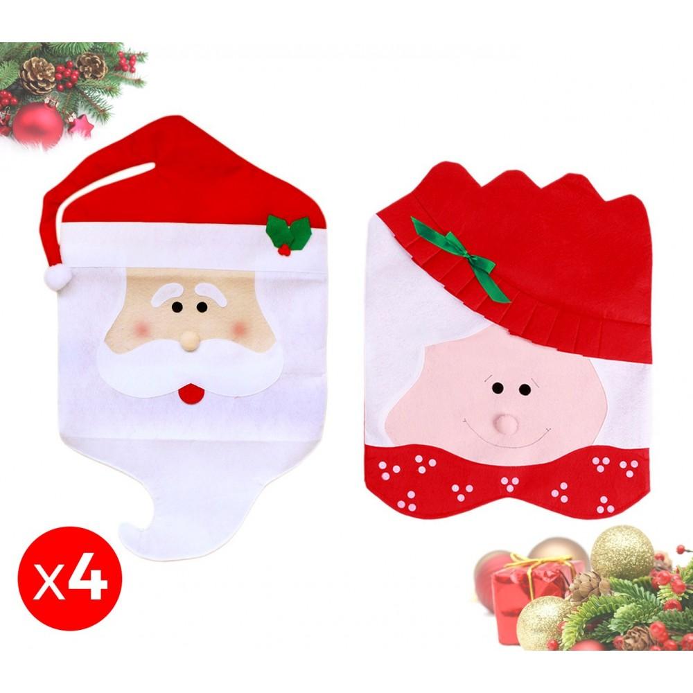 3432 Set 4 coprisedia natalizi Babbo Natale e Mamma Natale dettagli in rilievo