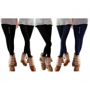 Set 5 leggings donna effetto termico felpato ass. 3 neri 2 blu NEPTUNE collant