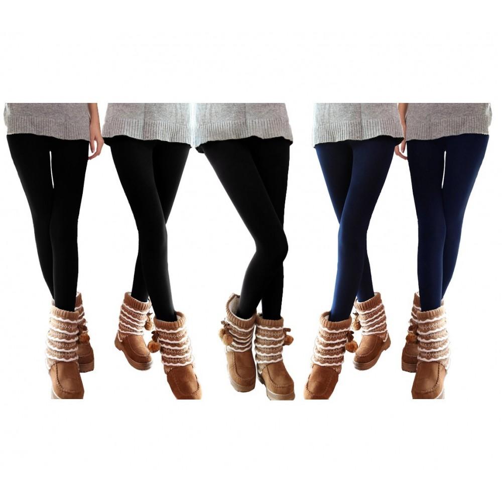 Set 5 leggings donna effetto termico felpato ass. NEPTUNE 3 neri 2 blu collant