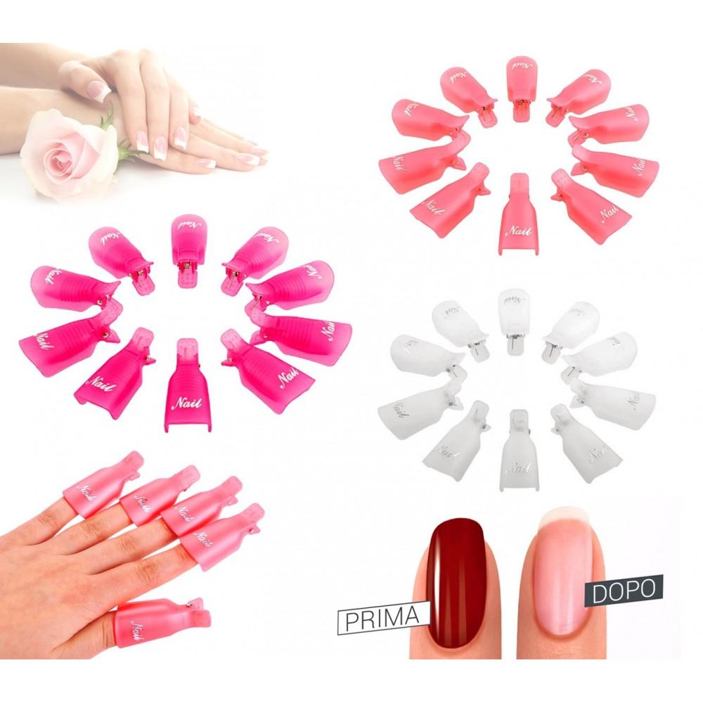 3422 Kit 10 clip rimuovi gel e semipermanente per unghie nail art