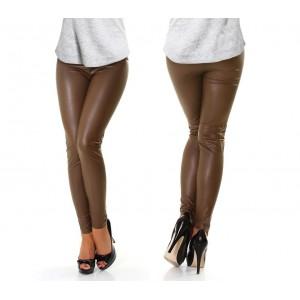 851223 Leggings donna effetto pelle color fango elasticizzato varie taglie