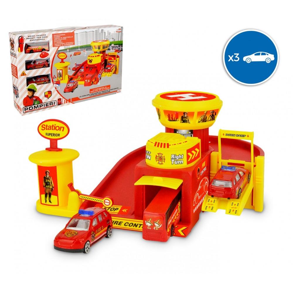 103623 Playset caserma dei pompieri garage 3 auto con accessori e adesivi