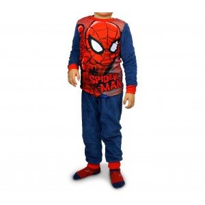 1732 Pigiama da bambino con motivo di Spiderman in caldo pile da 4 a 8 anni