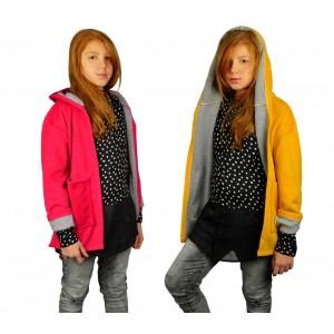 3448 Cappotto da bambina in pile con cappuccio mod. Amabel in 2 colori 9-16 anni