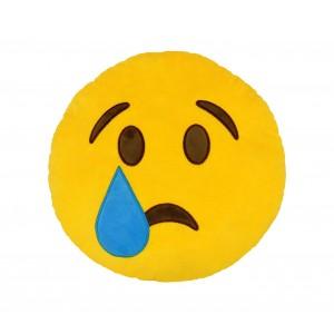 Image of 557317A Cuscino emoji faccina con lacrima colore giallo ø 34 cm emoticon 6907034503849