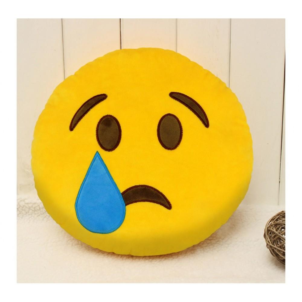 Emoji Cuscini.557317a Cuscino Emoji Faccina Triste Con Lacrima Colore Giallo O 34 Cm