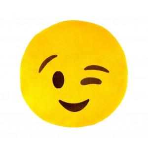 Image of 557316 Cuscino emoji faccina occhiolino colore giallo ø 34 cm circa 6950892942527