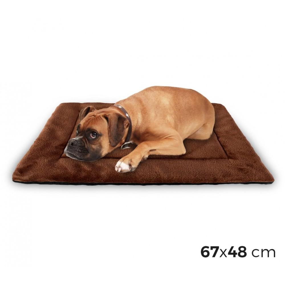 3004 Materassino morbido in vellutino per cani taglia L marrone 67 x 48 cm