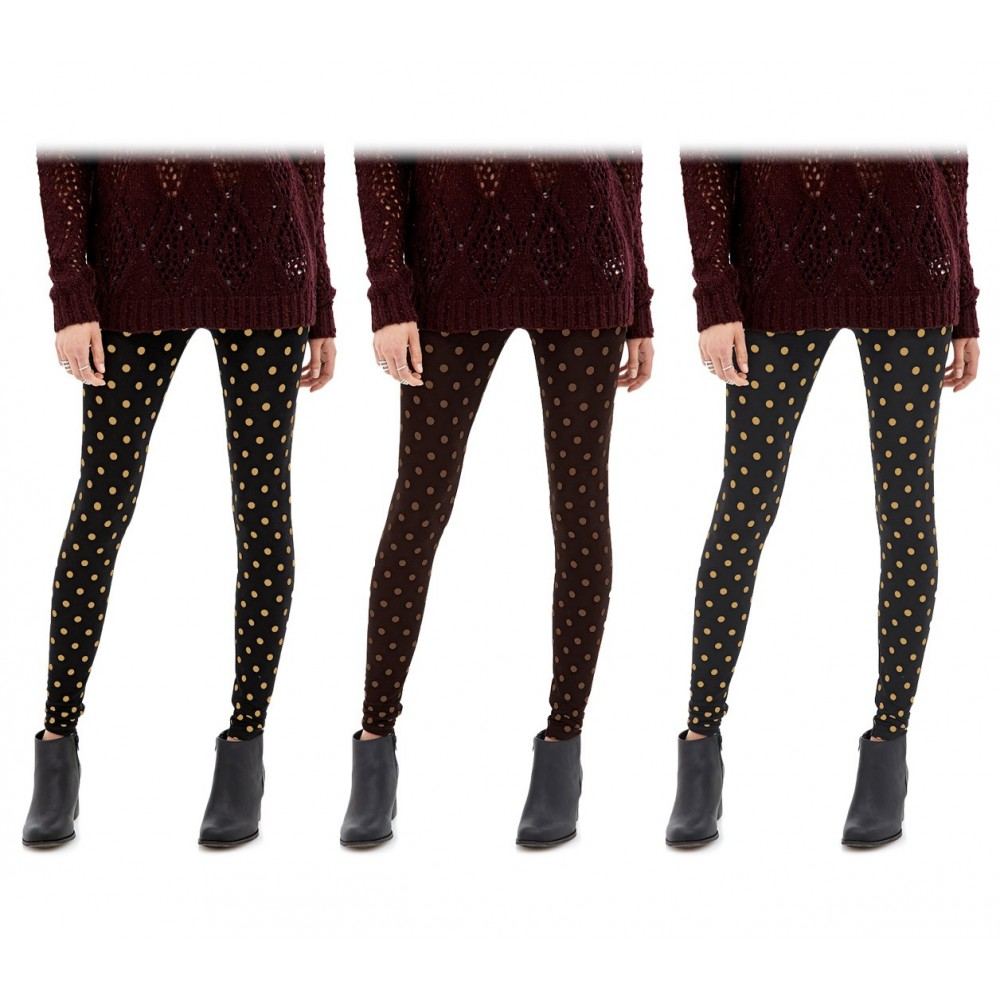 804 Set 3 leggings a pois da donna ass. Heather eff. termico interno felpato