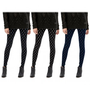 208041 Set 3 leggings a pois da donna ass. Heather eff. termico interno felpato