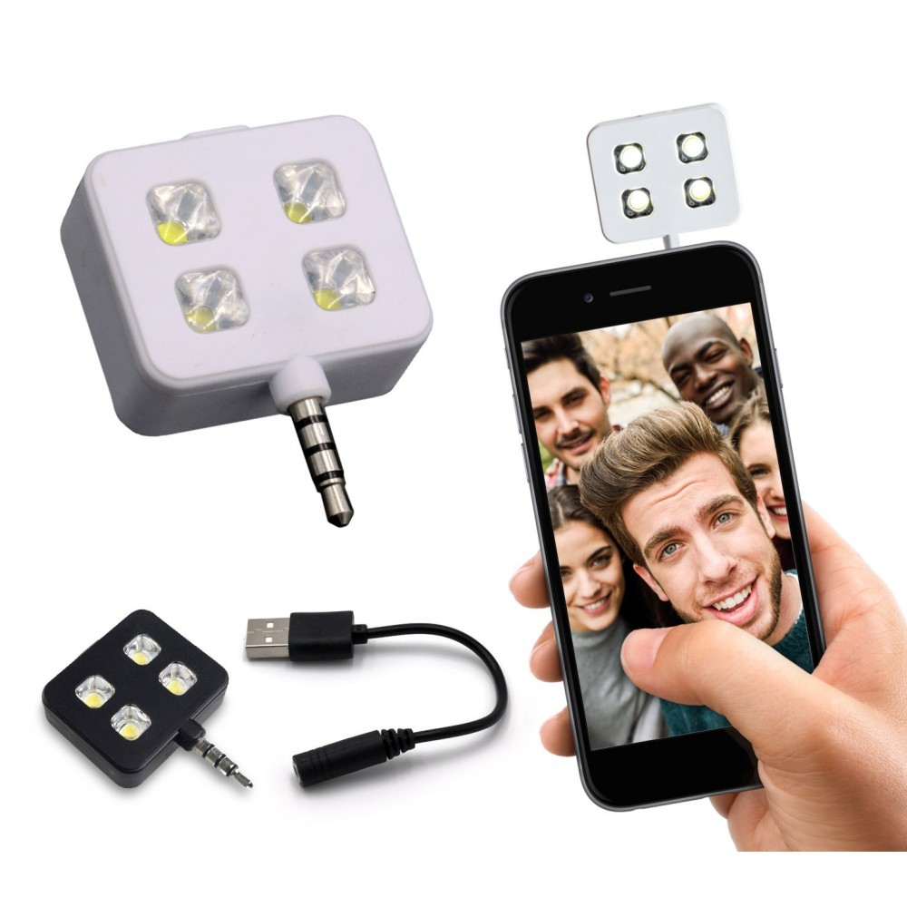 221791 Mini flash 4 led per selfie compatibile con dispositivi Samsung e Apple