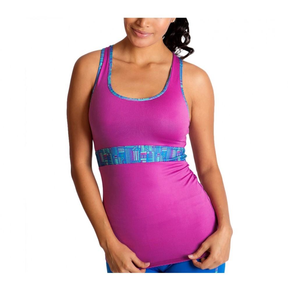 BU1019 Canotta sportiva donna elasticizzata mod. Motivational fascia contenitiva