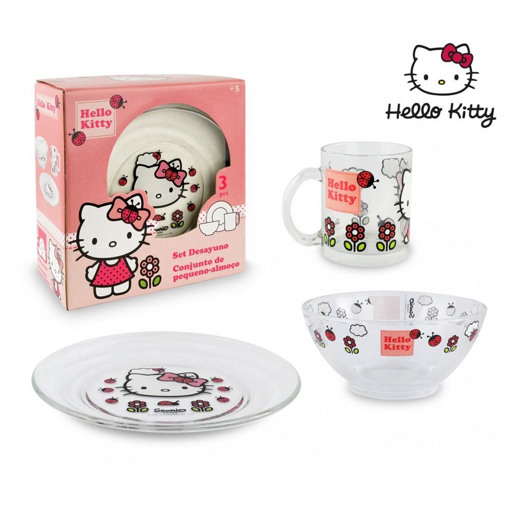 HK7733 Set da colazione Hello Kitty con scodella tazza e piattino in vetro