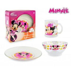 WD7400 Set da colazione Minnie Mouse con scodella tazza e piattino in vetro