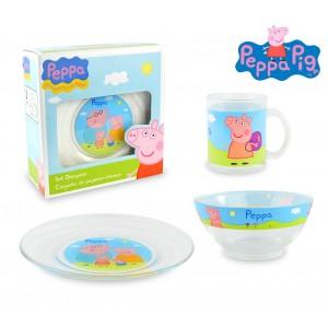 PP8106 Set da colazione Peppa Pig con scodella tazza e piattino in vetro