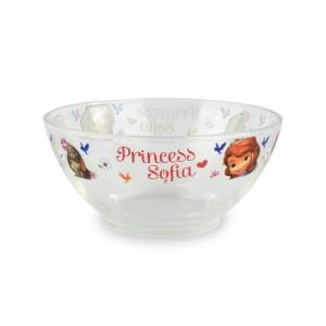 WD8543 Set da colazione Principessa Sofia con scodella tazza e piattino in vetro