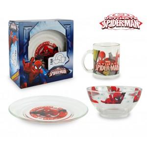 SM7402 Set da colazione Spiderman con scodella tazza e piattino in vetro