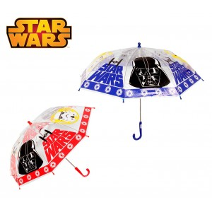 SW9353 Ombrello da pioggia per bambino Star Wars in plastica trasparente 64 cm