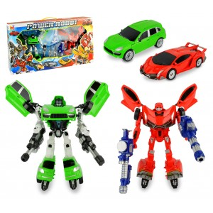 Image of 37749 Power robot trasformabili in automobile verde e rosso con armi 6984951175007