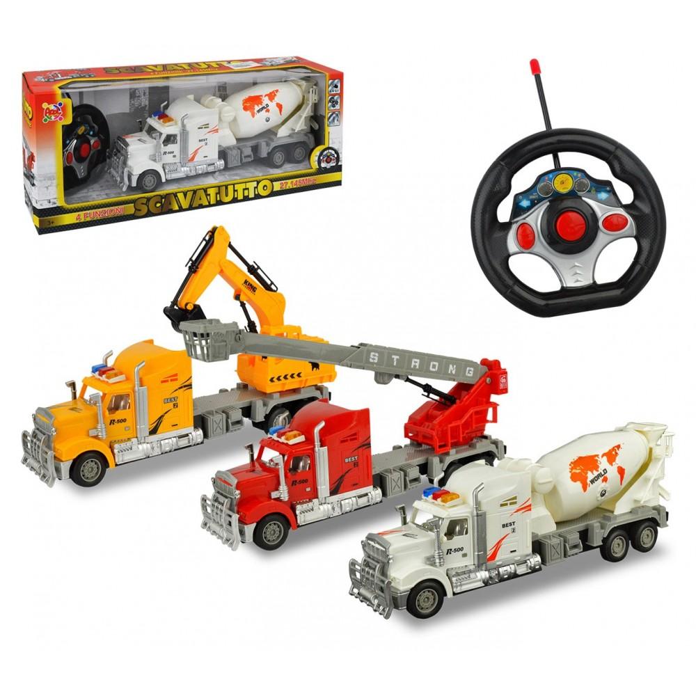 37738 Camion scavatutto da lavoro radiocomandato 4 funzioni in tre colori