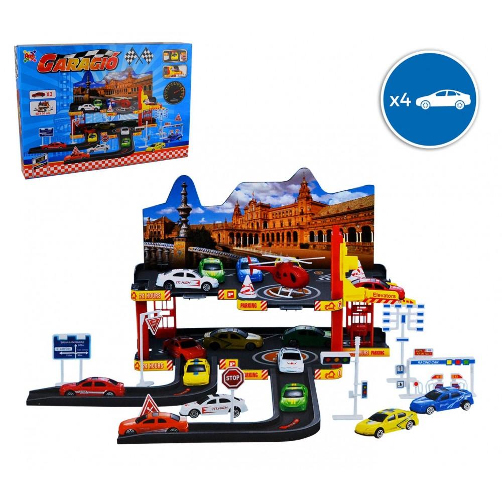 36602 Garage macchinine 2 piani scala 7:16 con 3 macchine 1 elicottero Garagiò
