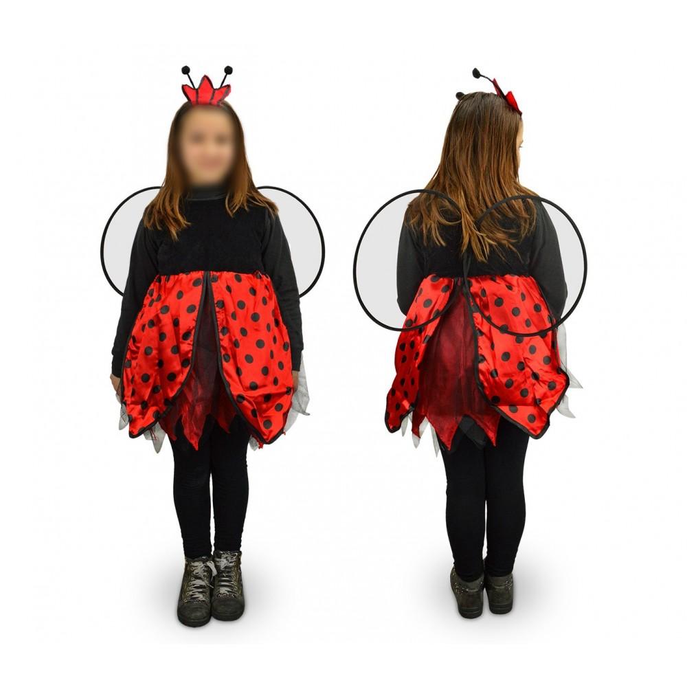 619427 Costume di carnevale travestimento Coccinella da Bambina da 3 a 12 anni