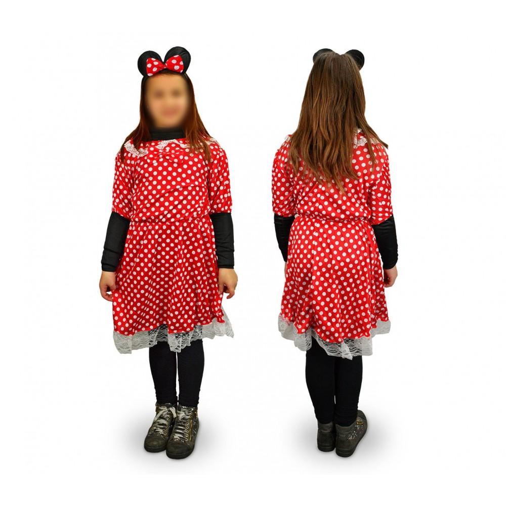 538186 Costume di carnevale travestimento topina a pois da Bambina 3 a 12 anni