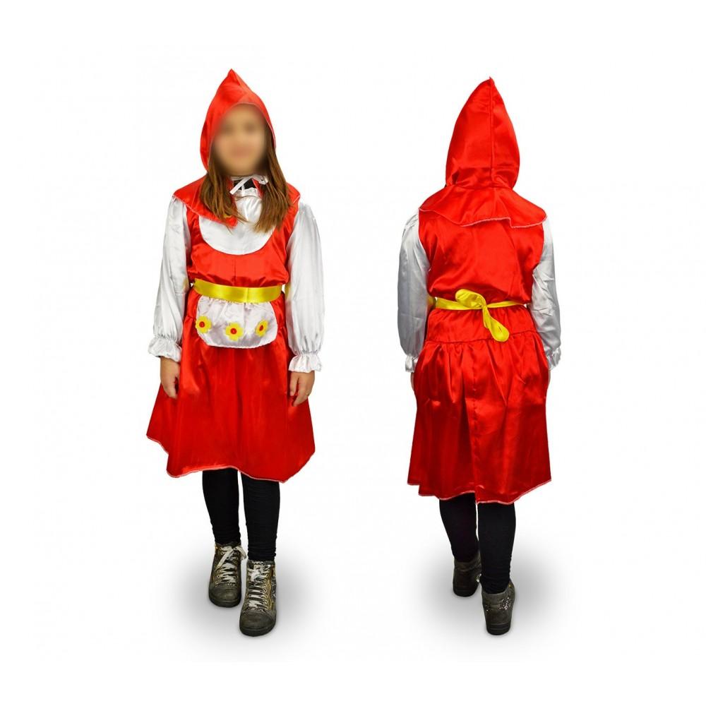 368660 Costume carnevale Cappuccetto Rosso Fiorito Bambina da 3 a 11 anni