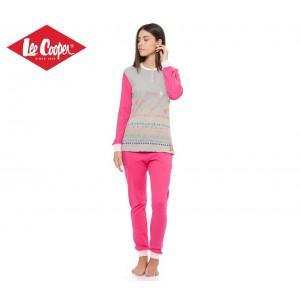 LCW00001 Pigiama donna Lee Cooper mod. Grey Mel caldo cotone a manica lunga