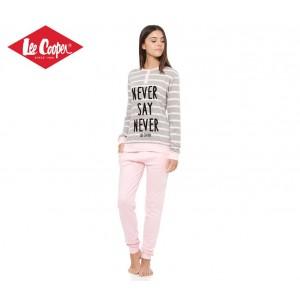 LCW00002 Pigiama donna Lee Cooper mod. Pink caldo cotone a manica lunga
