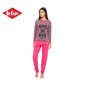 LCW00004 Pigiama donna Lee Cooper mod. Pink caldo cotone a manica lunga