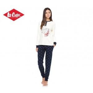 LCW00008 Pigiama donna Lee Cooper mod. English Grey caldo cotone a manica lunga