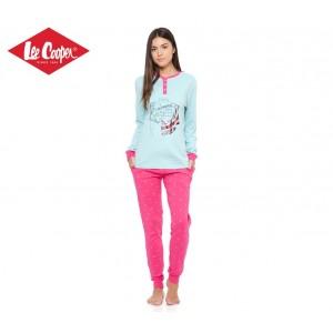LCW000012 Pigiama donna Lee Cooper mod. Pink Marine caldo cotone a manica lunga