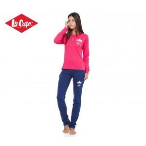 LCW00114 Pigiama donna Lee Cooper mod. Raspberry Blue caldo cotone manica lunga