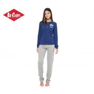 LCW00115 Pigiama donna Lee Cooper mod. Blue Gray caldo cotone manica lunga