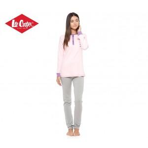 LCW00117 Pigiama donna Lee Cooper mod. Love Grey caldo cotone manica lunga