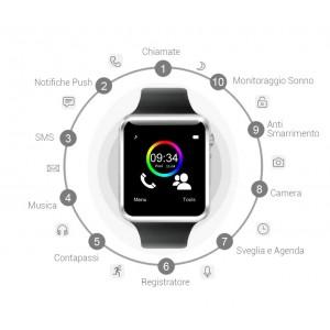 084587 Smartwatch bluetooth con sim gsm orologio con app per Android