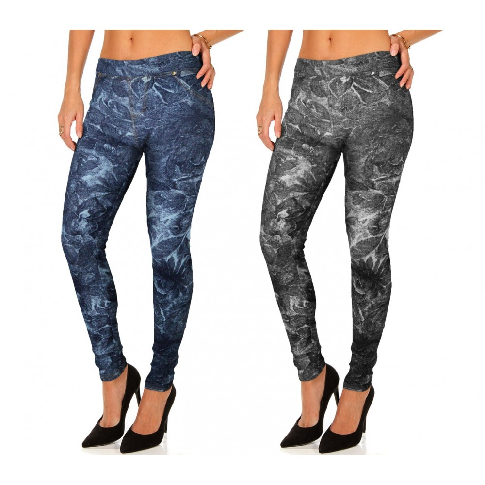 HO-1610 Set 2 leggings stile denim mod. Alisya con trama floreale e tasche