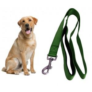 054253 Guinzaglio corto per cani in nylon 120 cm verde militare con moschettone