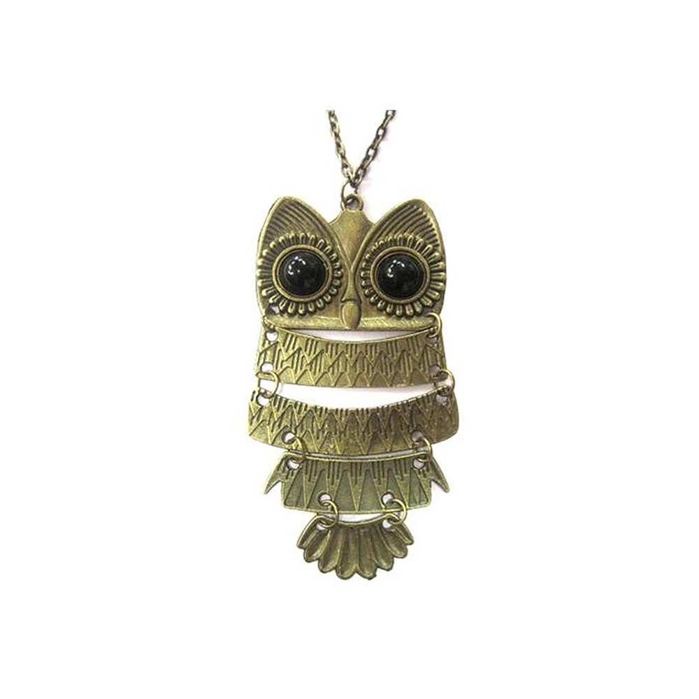 Collana 75 cm lunga vintage ciondolo charm gufo gufetto owl bronzo Necklace