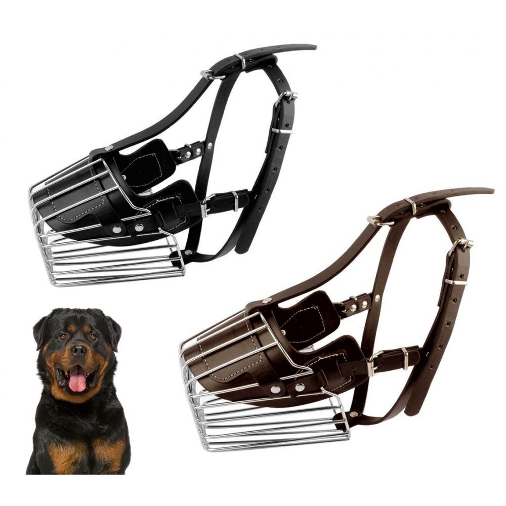 Museruola a cestello art. 5811 in acciaio e cuoio 15 cm cani taglia grande