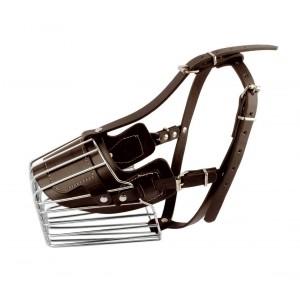 5811Museruola a cestello in acciaio e cuoio adatta per cani di taglia grande15cm