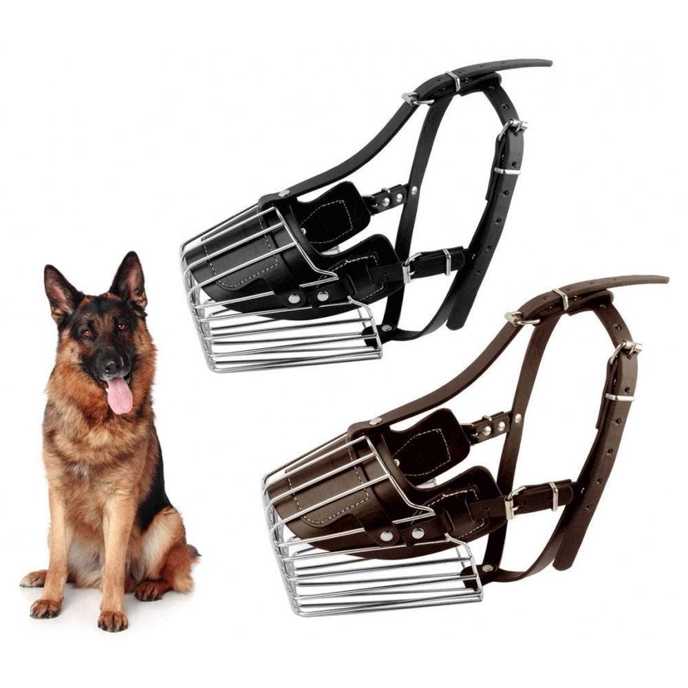 Museruola a cestello art. 5810 in acciaio e cuoio 14 cm cani taglia media